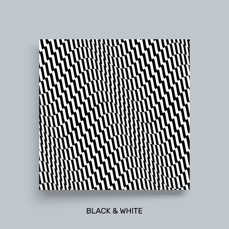 ripply: 3D wavy background. Dynamic effect. Black and white design. Pattern with optical illusion. Cover design template. Vector Illustration.