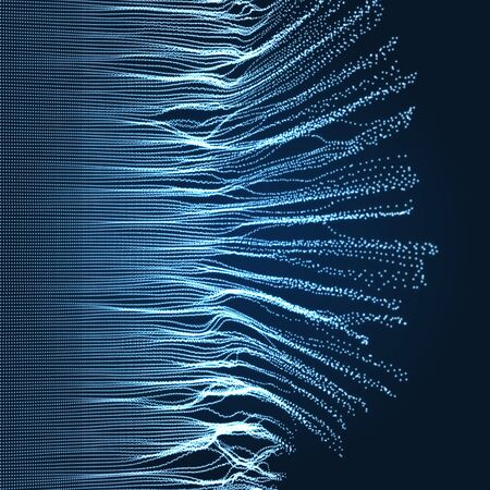 array avec dynamic émis particules . le style futuriste . un fond abstrait flou. illustration vectorielle . Vecteurs