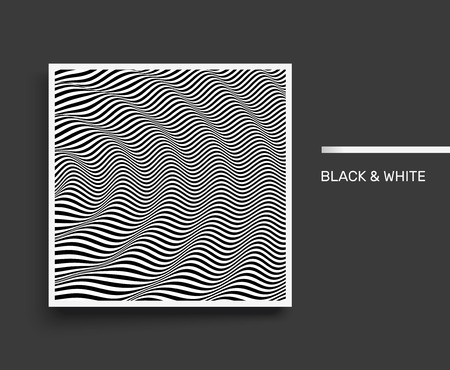3D wavy background. Dynamic effect. Black and white design. Pattern with optical illusion. Cover design template. Vector Illustration.