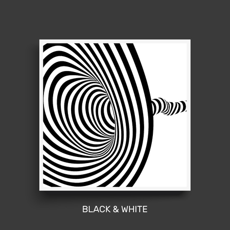 Tunnel. Optical illusion. Black and white abstract striped background. Cover design template. 3D vector illustration.