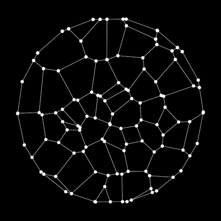 A circle composed of dots and lines. Wireframe vector illustration. 3D technology style.