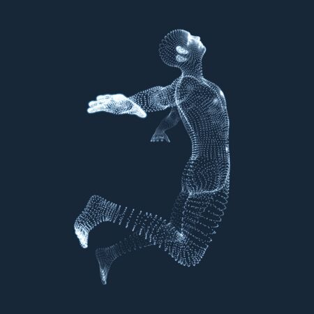 Jumping Man. Vector Graphics Composed of Particles. 3D Model of Man. Human Body Model. Body Scanning. View of Human Body.