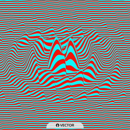 ripply: Waveform background. Dynamic visual effect. Surface distortion. Pattern with optical illusion. Vector striped illustration. Sound waves.