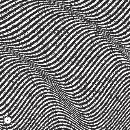 ripply: Wavy background. Black and white grainy dotwork design. Pointillism pattern with optical illusion. Stippled vector illustration. Illustration