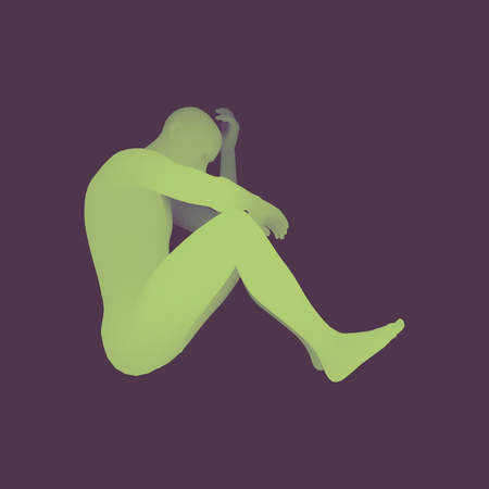 gloomy: Man Thinks about a Problem. Despair, Depression, Hopelessness, Addiction Concept. 3D Model of Man. Vector Illustration.
