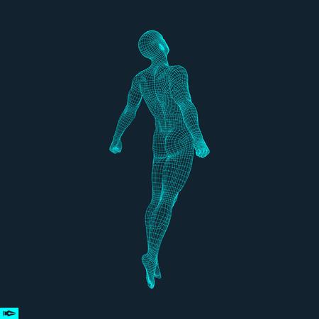 男の幾何学的なデザインのジャンプ男 3 D モデルのシルエット。皮膚が多角形のカバー。人間の体のワイヤー モデル。ベクトルの図。