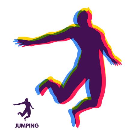 Silhouette of a jumping man. Design template for Sport. Vector Illustration. Иллюстрация