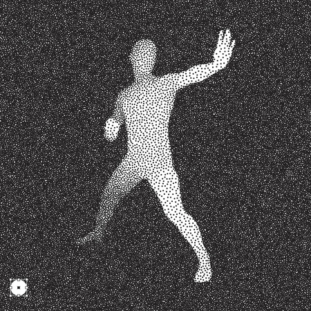 banned: Vector man with hand up to stop. Human showing stop gesture. 3D model of man. Black and white grainy dotwork design. Stippled vector illustration.