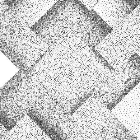 Abstract background of 3d blocks. Black and white grainy dotwork design. Pointillism pattern. Stippled vector illustration.