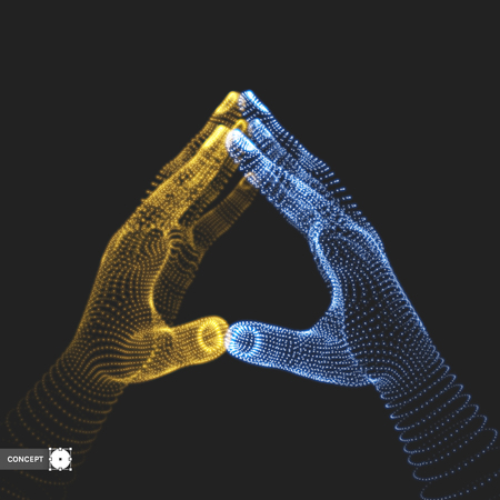 Two human hands. Connection structure. Business concept. 3D vector illustration.