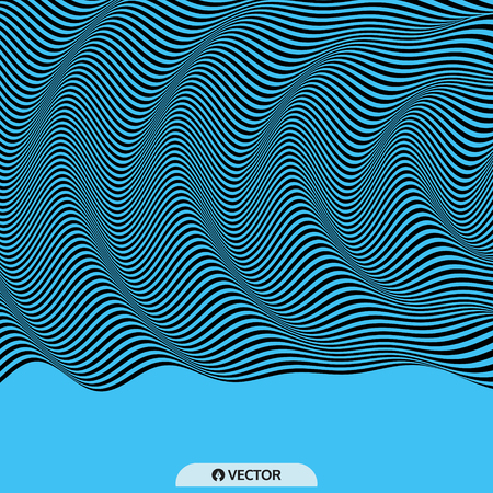 ripply: 3D wavy background. Dynamic effect. Pattern with optical illusion. Vector illustration. Illustration