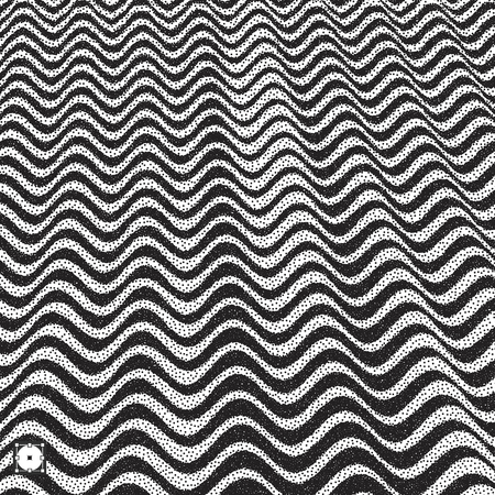 ripply: Wavy background. Black and white grainy dot work design. Pointillism pattern with optical illusion.