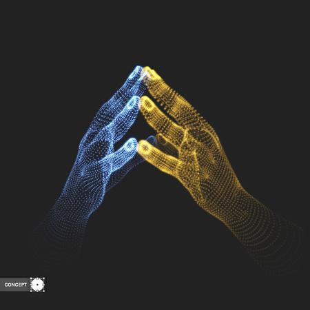 Twee menselijke handen. Verbinding structuur. Business concept. 3D vector illustratie.