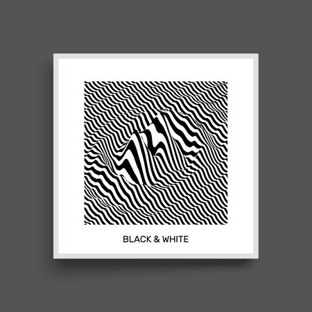 ripply: Waveform background. Surface distortion. Pattern with optical illusion. Vector striped illustration. Black and white sound waves. Cover design template.