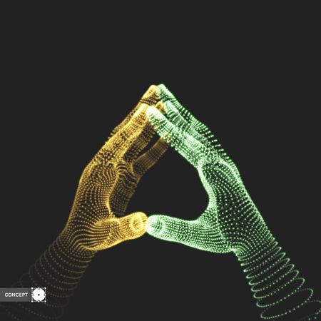 virtual sculpture: Two human hands. Connection structure. Business concept. 3D vector illustration.