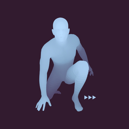 Athlete at Starting Position Ready to Start a Race. Runner Ready for Sports Exercise. Sport Symbol. 3d Vector Illustration.
