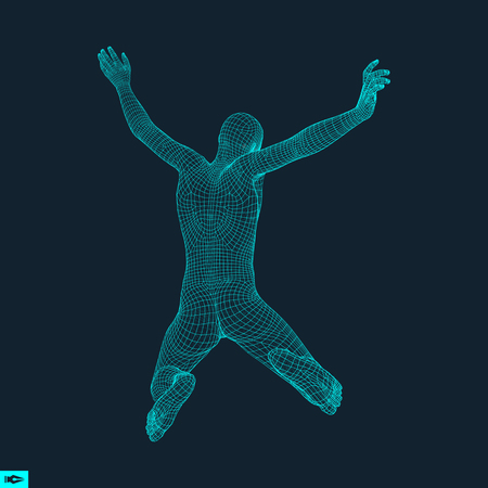 saltar: Silueta de un hombre que salta. Modelo 3D del Hombre. Diseño geométrico. Piel que cubre poligonal. Modelo de alambre del cuerpo humano. Ilustración del vector.