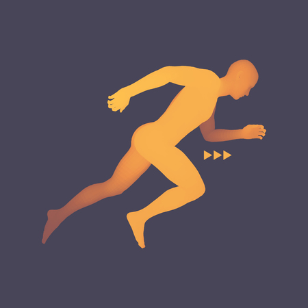 running: 3d Running Man. Design for Sport, Business, Science and Technology. Vector Illustration. Human Body. Illustration