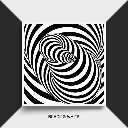 wormhole: Tunnel. Optical illusion. Black and white abstract striped background. Cover design template. 3D vector illustration.