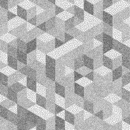 mosaic: 3d blocks structure background. Black and white grainy dotwork design. Pointillism pattern. Stippled vector illustration.