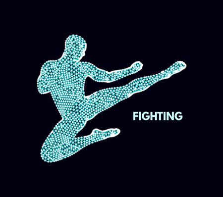 Fighter. Sports concept. 3D Model of Man. Sport Symbol. Design Element. Vector Illustration.