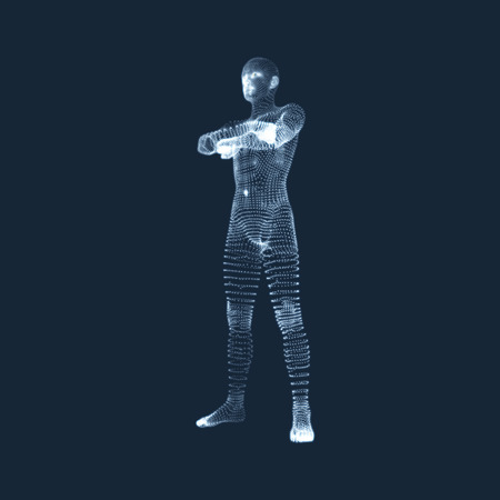 human anatomy: Man Stands on his Feet. 3D Model of Man. Human Body Model. View of Human Body.