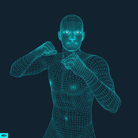 Boxer. Fighting Man. 3D Model of Man. Polygonal Design. Sport Symbol. Vector Illustration.