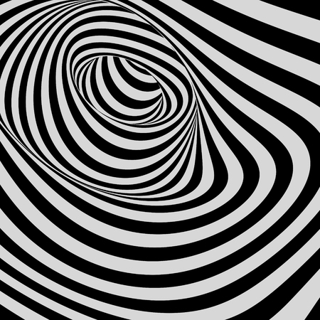 distort: Pattern with optical illusion. Abstract background. 3D vector illustration.