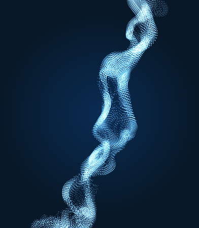 Array with Dynamic Particles. Wavy Background. Composition with Motion Effect.