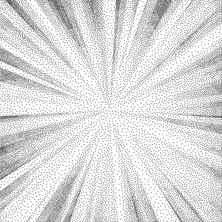 Stipple burst. Black and white grainy dotwork design. Pointillism pattern. Stippled vector illustration. Illustration