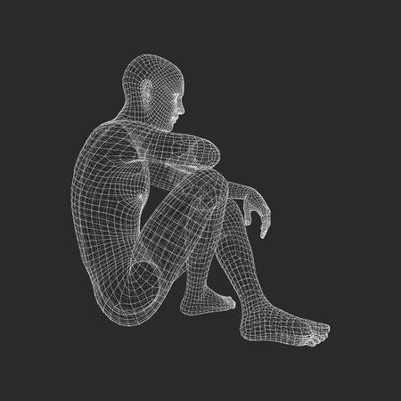 Mens in een Denker Pose. 3D-model van de Mens. Geometrische Design. Human Body Wire Model. Ondernemen, Wetenschap, Psychologie of Philosophy Vector Illustration.
