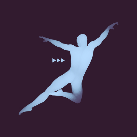 Man is Posing and Dancing. Silhouette of a Dancer. A Dancer Performs Acrobatic Elements. Sports Concept.