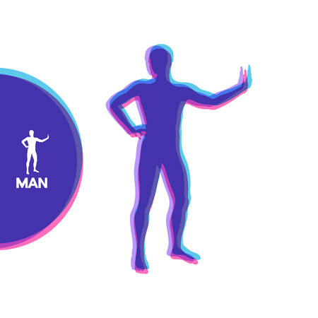 Silhouette of a standing man. Vector illustration.