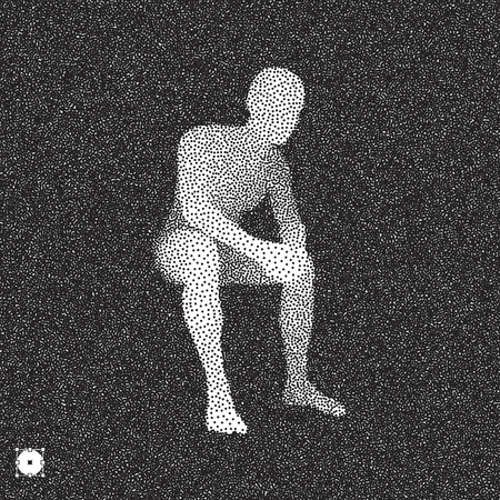 Sitting man. 3D Model of Man. Black and white grainy dotwork design. Stippled vector illustration. Ilustração