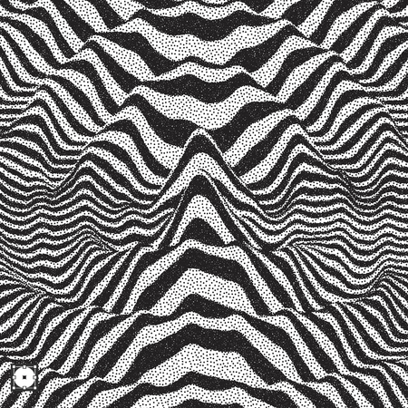 Waveform background. Dynamic visual effect. Surface distortion. Black and white sound waves. Pointillism pattern with optical illusion. Stippled vector illustration. Illustration
