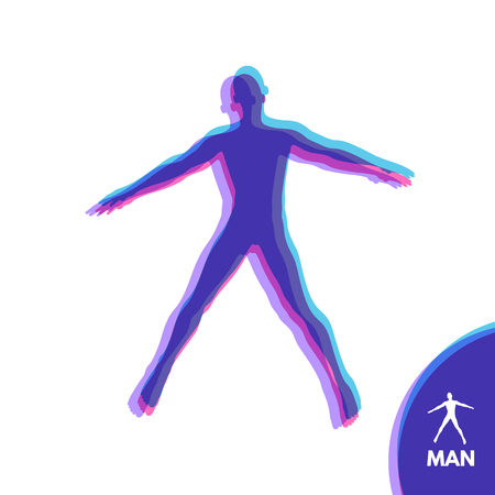 stance: Silhouette of a man. Hands pointing in different directions. Vector illustration.