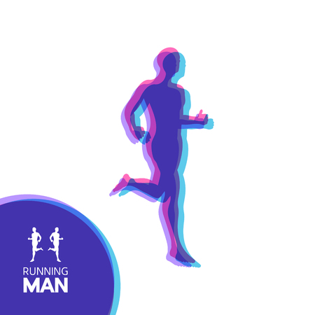 Silhouette of a running man. Design for Sport. Emblem for marathon and jogging. Vector Illustration. Vectores