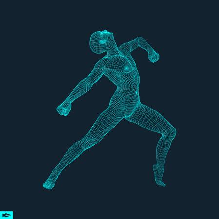stance: 3D Model of Man. Human Body Wire Model. Design Element. Technology Vector Illustration.