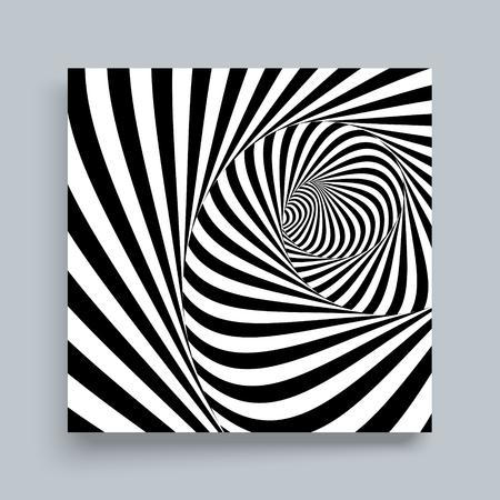 Tunnel. Optische illusie. Zwart en wit abstracte gestreepte achtergrond. Ontwerpsjabloon cover. 3D-vectorillustratie.