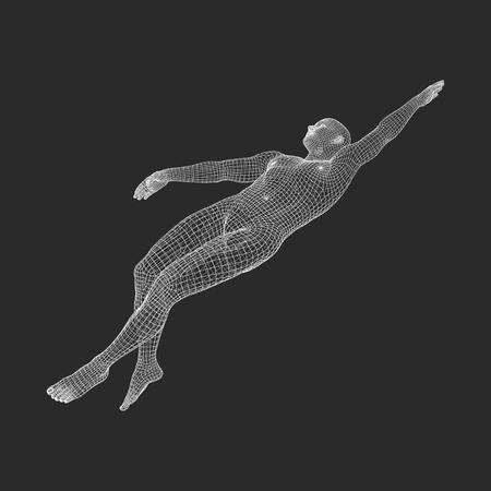 3D Swimming Man. Vector Image of a Swimmer. Human Body. Sport Symbol. Design Element.