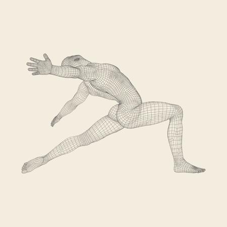 남자는 Posing and Dancing입니다. 댄서의 실루엣입니다. 남자의 3D 모델입니다. 스포츠 기호입니다. 디자인 요소. 벡터 일러스트 레이 션.