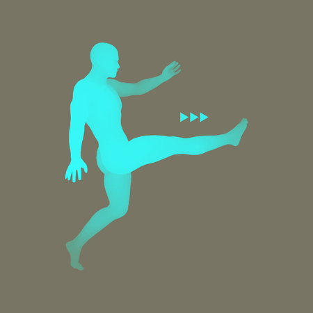 dribbling: Football player. Sports concept. 3D Model of Man. Human Body. Sport Symbol. Design Element. Vector Illustration.