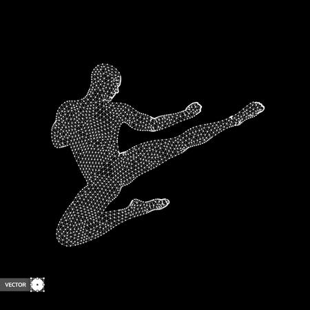 stance: Karate and kung fu. Karate jump kick. Fighter. 3d model of man. Sport symbol. Design element. Asian martial arts. Vector illustration. Illustration