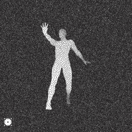stance: Vector man with hand up to stop. Human showing stop gesture. 3D model of man. Black and white grainy design. Stippling effect. Vector illustration.