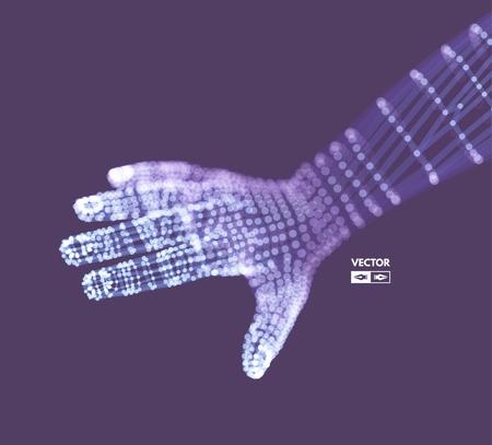 virtual sculpture: Human Arm. Hand Model. Connection structure. Future technology concept. 3D Vector illustration.