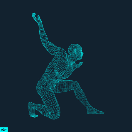 3D Model of Man. Human Body Wire Model. Design Element. Technology Vector Illustration.