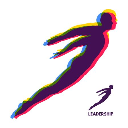 protester: Leadership concept. Personal and Career Growth. Start Up Business Concept. Beginning of Business Ideas. Silhouettes of men. Vector Illustration. Illustration