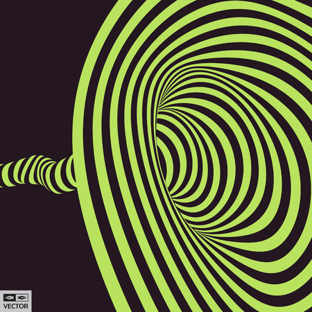 distort: Tunnel. Abstract striped background. Optical art. 3D vector illustration.