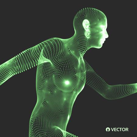 virtual sculpture: 3d model of man. Human body. Design element. Vector illustration.