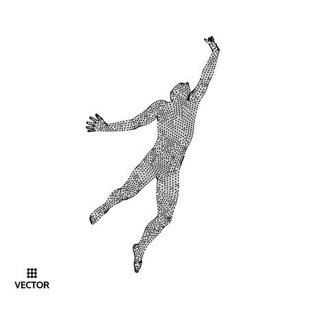 Концепция лидерства. Прыгающий человек. Эмблема спортивного чемпионата. Векторные иллюстрации. Иллюстрация